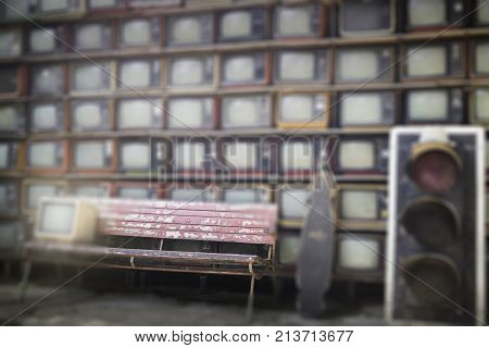 Stack of old TV vintage style background stock photo