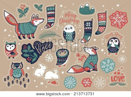 Set of cute Christmas elements and text in cartoon style. Fox and owls, snowflake and bunny, mistletoe and socks. Lovely stickers and patches for meeting New year and Christmas.