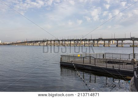 DNEPR, UKRAINE, NOVEMBER 14, 2017:View of the Central Bridge of the city of Dnepr from the embankment