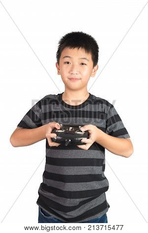 Asian Boy Holding Radio Remote Control Handset For Helicopter, Drone Or Plane, Isolated On White Bac