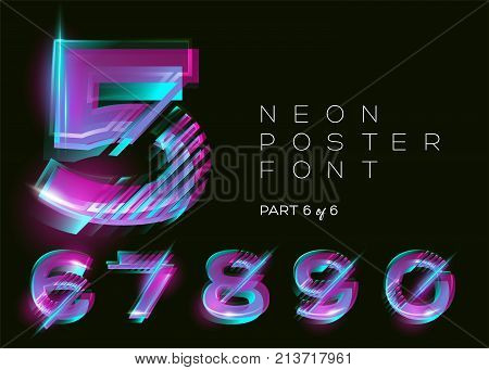 Neon 3D Typeset. Glowing Text Effect. Vibrant Bright Colors on Black Background. Modern Creative Typography for DJ Music Party Fest Sale Banner. Trendy Lettering for Decoration Design. Isolated.