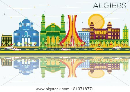 Algiers Skyline with Color Buildings, Blue Sky and Reflections.