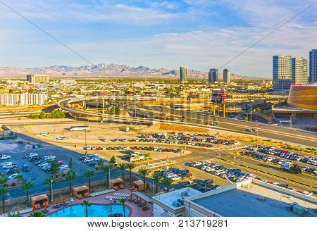 Las Vegas, Nevada, United States of America - May 04, 2016: The view from above of roads at Las Vegas at sunny day on May 04, 2016.