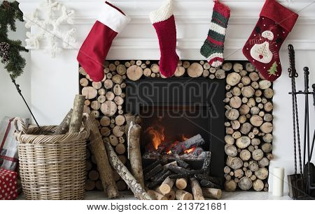 Christmas stockings hanging by the chimney