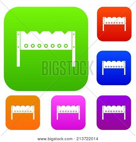 Brazier set icon color in flat style isolated on white. Collection sings vector illustration