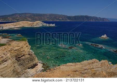 Blue water at Halkidiki peninsula . .