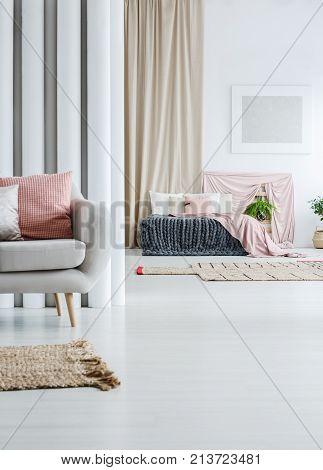 Beige Curtain In Multifunctional Loft