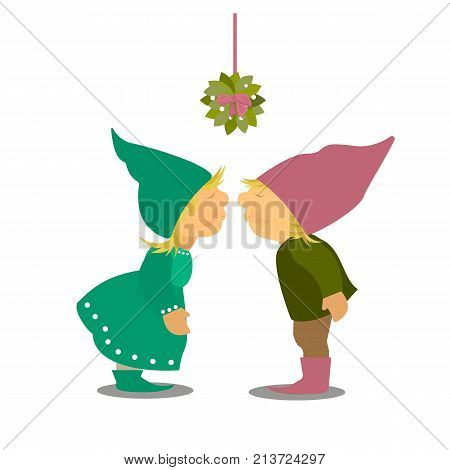 Omela Holly Mistletoe or Viscum Album bunch with red ribbon for Christmas celebration. Isolated on a white background. Happy new year. Xmas vector illustration for greeting card. Two gnomes bunnies kissing under mistletoe christmas bough tradition. Holida