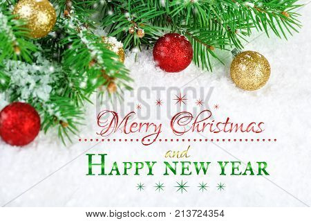 Merry Christmas and Happy New Year. A New Year's background with New Year decorations. New Year's card.