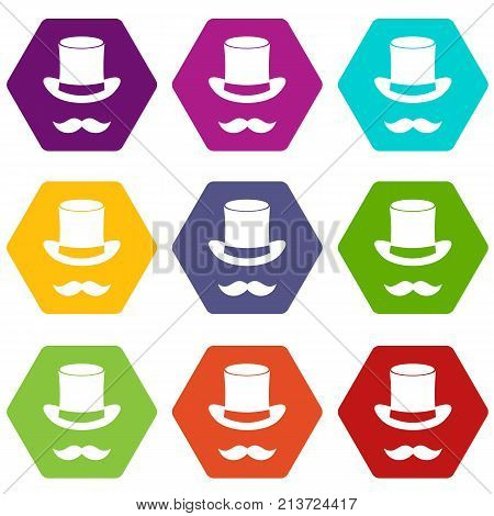 Magic black hat and mustache icon set many color hexahedron isolated on white vector illustration