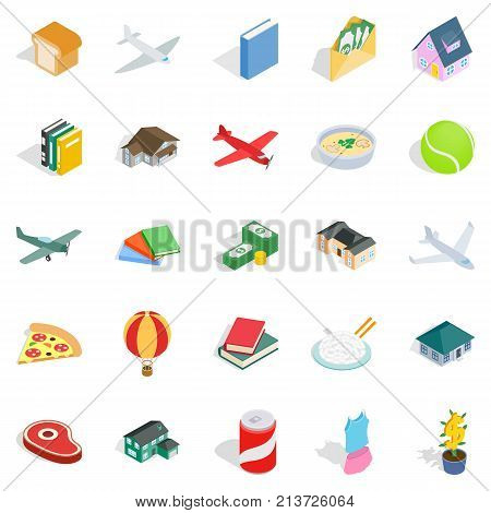 Variety icons set. Isometric set of 25 variety vector icons for web isolated on white background