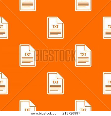 File TXT pattern repeat seamless in orange color for any design. Vector geometric illustration