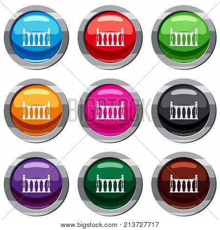 Balustrade set icon isolated on white. 9 icon collection vector illustration