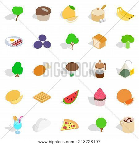 Vegetarian icons set. Isometric set of 25 vegetarian vector icons for web isolated on white background