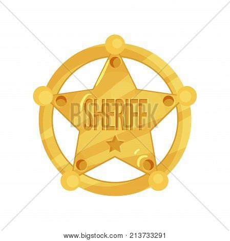 Golden police icon. Brass five-pointed sheriff star in circle old west badge isolated on white background. Policeman jetton. Cop token. Public safety. Cartoon vector illustration in flat style.