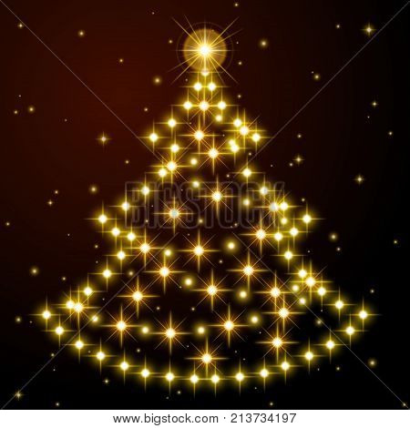 Fir-tree from the realistic beautiful gold stars on black background. Card with New Years mood. Vector illustration. It is possible to use on transparent.