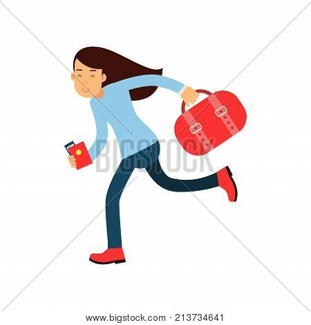 Cheerful girl running fast to airport with luggage, passport and plane ticket in hands. Young woman late to flight departure. Travel and tourism concept. Flat vector illustration isolated on white.