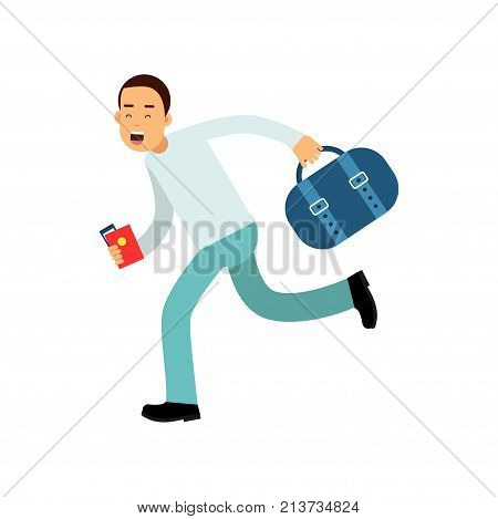 Cheerful young man running fast to airport with travel bag, passport and plane ticket in hands. Guy late to flight departure. Around the world. Vacation and tourism concept. Isolated flat vector.