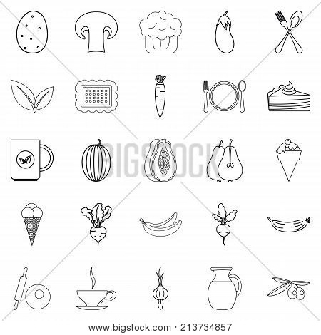 Steading icons set. Outline set of 25 steading vector icons for web isolated on white background