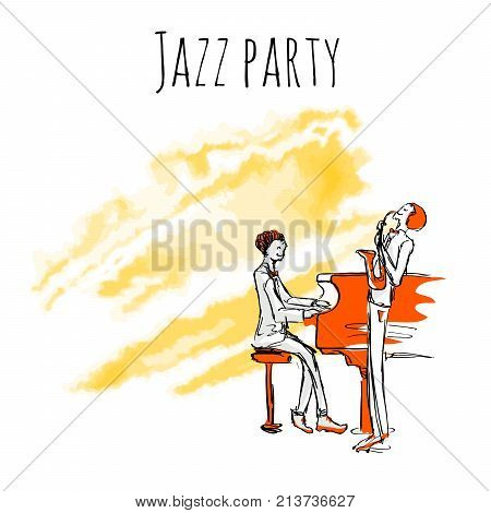 Jazz musicians play sax and piano on watrecolor background. Vector jazz party poster template with copy space.