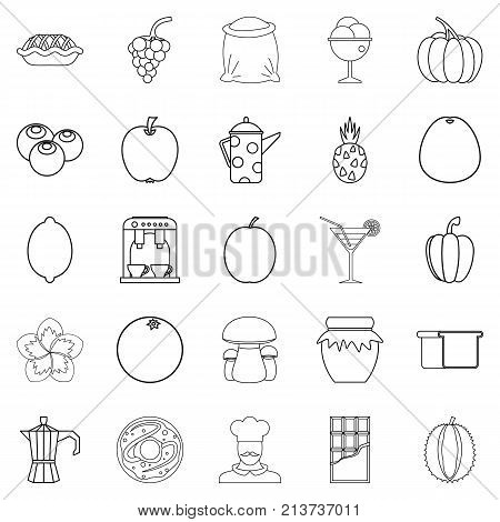 Tea garden icons set. Outline set of 25 tea garden vector icons for web isolated on white background