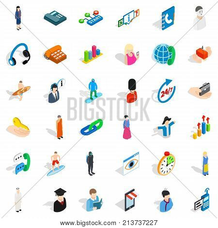 Hr icons set. Isometric style of 36 hr vector icons for web isolated on white background