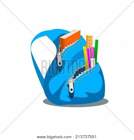 Blue backpack with supplies, vector illustration of blue backpack with supplies isolated on white.