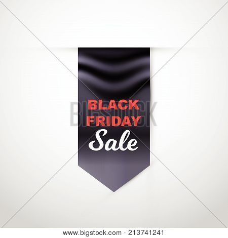 Vector illustration realistic black flag with Black Friday Sale text. Eps 10 file.