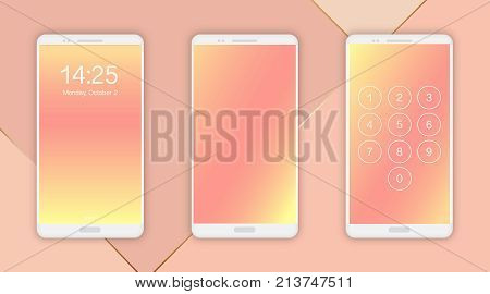 Smartphone screen ui ux template backgrounds. Abstract nude gradient texture, vector illustration. Blurred yellow pink nude colors, smartphone screen concept. Smart phone mockup.