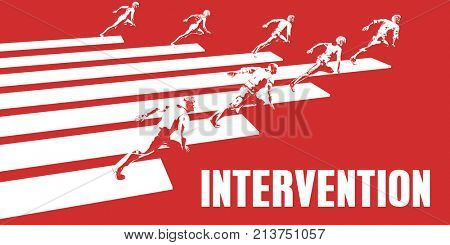 Intervention with Business People Running in a Path