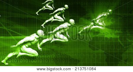 Business Coaching Concept with Men Running in Unison 3D Render