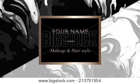 Makeup Artist And Hair Stylist Business Card Template. Elegant Vector Template Business Cards With B