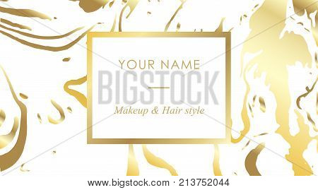 Luxury Set Makeup Artist And Hair Stylist Business Cards Vector Template, Banner And Cover With Gold