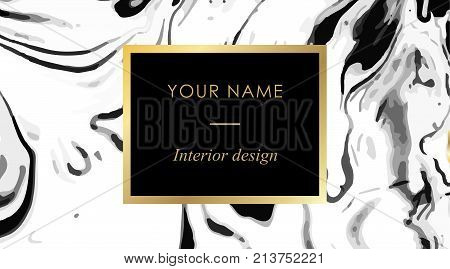 Interior Design Business Card Template Set. Elegant, Abstract Branding Kit With Marble Texture And G