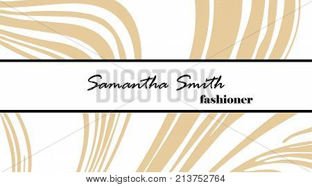 Creative Modern Fashioner Business Card, With Abstract Gold Marble Texture. Vector Design Concept. F