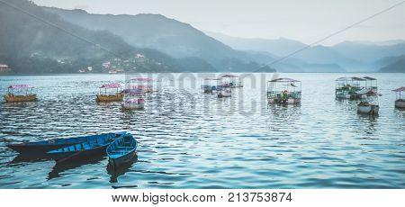 Phewa Lake in Pokhara with boats