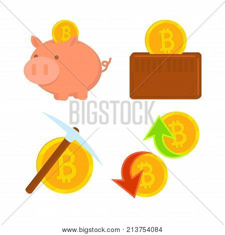 Cryptocurrency Bitcoin set. The gold coin extraction mining. Virtual money. Bitcoin in wallet. Bitcoin in piggy bank. Vector icon. Buy and sell virtual money.