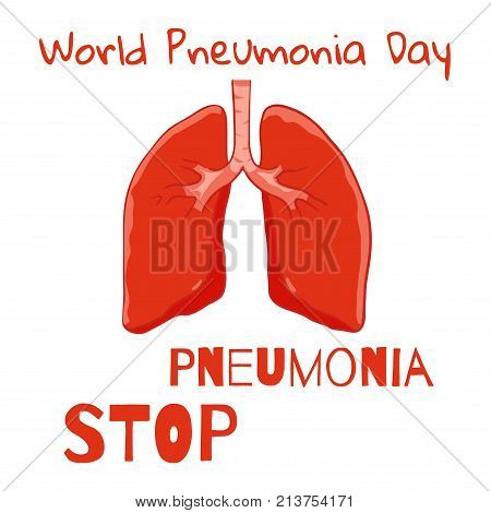 Vector Human lungs front view. Poster World Pneumonia Day not background. Right and left lung with trachea. Healthy lung.