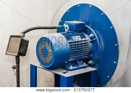 Closeup image of obsolete powerful electric motor for modern industrial equipment
