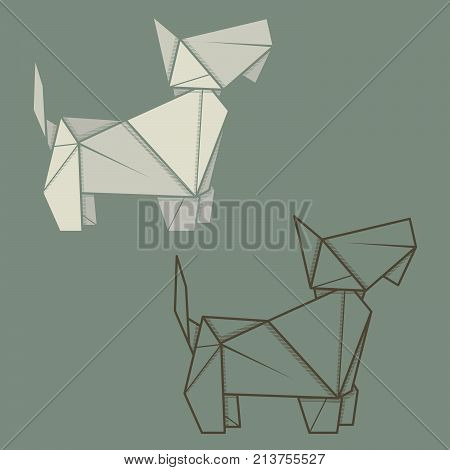 Set vector simple illustration paper origami and contour drawing of terrier.