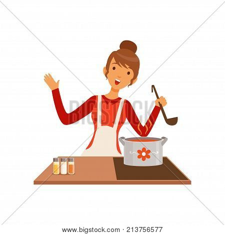 Young woman with ladle cooking soup, housewife girl in the kitchen flat vector Illustration on a white background