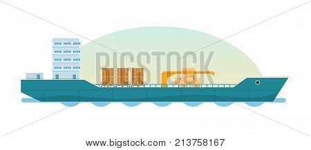 Cargo ship, tanker with containers, boxes. Loaded container ship. Cargo delivery, transportation, water transport. Global delivery logistics of transportation maritime shipping. Vector illustration.