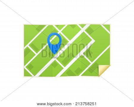 Road map with colorful bright marks markers and road, with paved route. Navigation map for positioning travel and transport. GPS navigation with marker. Roadmap template design. Vector illustration.