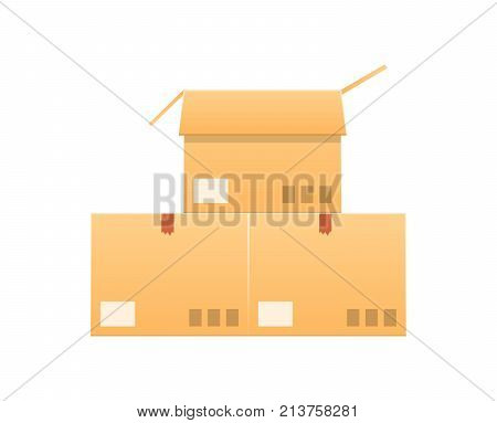 Carton boxes set. Box cardboard, package, packaging, icons. Open box and closed box. Pile of stacked sealed goods cardboard boxes. Gifts, cargo delivery, parcels, freight. Vector illustration