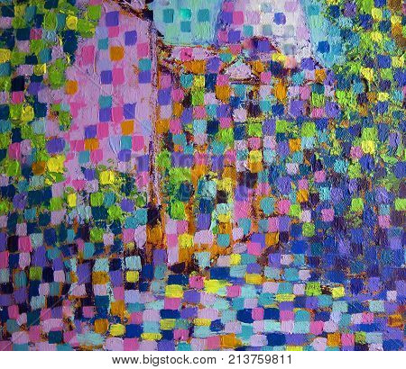 Abstract art painting of acrylic artistic .