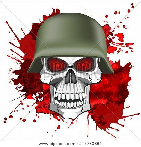 Abstract image of a human skull in an army helmet on a bloody background