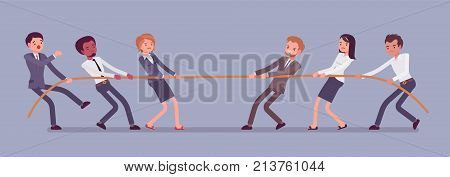 Tug of war. Teams pulling on opposite ends of a rope against each other, struggle for corporate supremacy or market control. Vector flat style cartoon business concept illustration