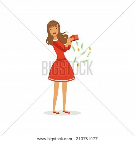Beautiful frustrated young woman character in red dress shaking empty money box colorful flat vector Illustration on a white background
