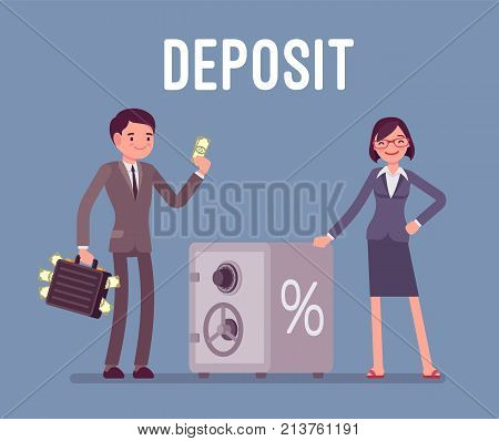 Deposit man and woman money investors standing near safe box. Individuals transferring into a banks savings or checking accounts to get profit. Vector flat style cartoon business concept illustration