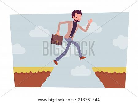 Man jumping over the abyss. Undertaking risky and life-threatening action to earn much more money, investing with danger. Vector flat style cartoon business concept illustration